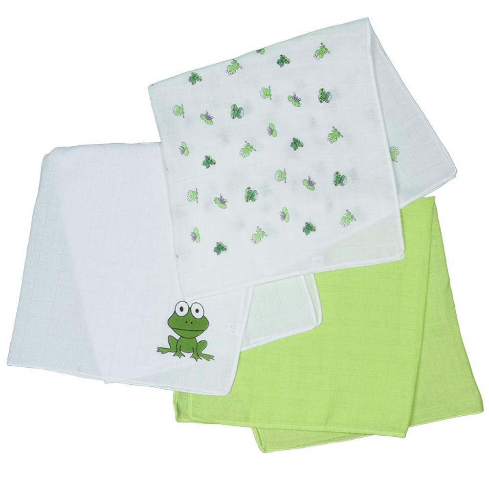 Odenwälder 3er Pack-Mullwindeln / Nuscheli Frosch grün